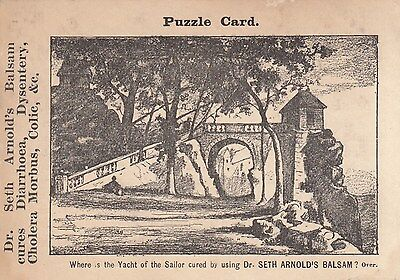 1890's Trade Card Dr Seth's Arnold Balsam Puzzle Card Where is the Yacht