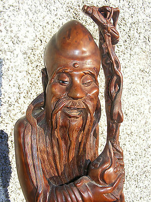 Large Antique Chinese Immortal Confucius Wood Carving