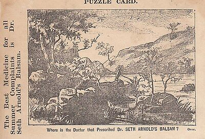1890's Trade Card Dr Seth's Arnold Balsam Puzzle Card Where is the Doctor