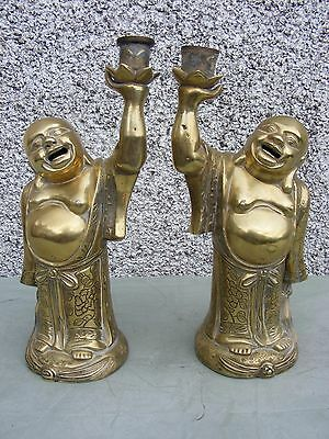 Rare Antique Vintage Pair Of Chinese Laughing Buddha Brass Bronze Lamp Bases