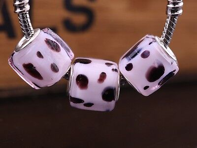 10pcs 12mm Cube Lampwork Glass European Charms Murano Loose Big Hole Beads Pink