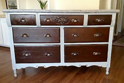 Gray French Country Chic Vintage Dresser, Credenza, Buffet