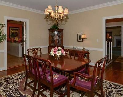 Vintage Mahogany Dining Room Suite with 6 Needlepoint Chairs