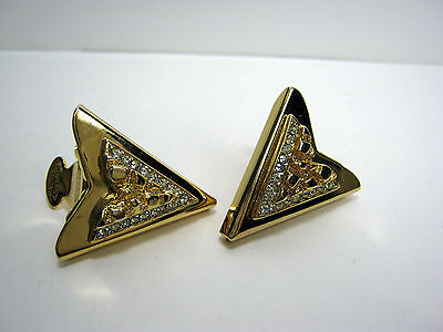 """Vintage Western Collar Tips Gold Tone """"nuggets And Rhinestones"""" U.s. Patent"""