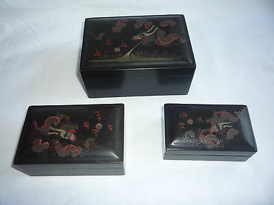 3 Pcs Set Antique/Old Chinese Wooden Carved Lacquer Painted Dragon Boxes - Marks