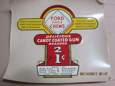 Ford Chicle Chew Vending Machine Water Transfer Decal  - 2 for 1 cent
