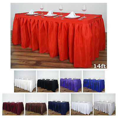 Accordion Pleat Polyester Table Skirt for Kitchen Dinning Catering Wedding Event