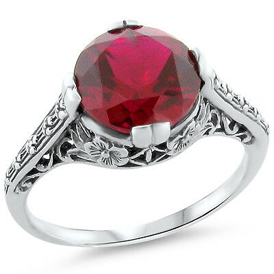 3.5 Ct Lab Ruby Art Deco Antique Style 925 Silver Filigree Ring Size 6,     #184
