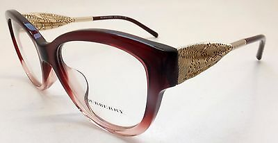 Burberry B 2210-F 3553 Marsala Grad Gold Cat Eye Woman Eyeglasses BE3/21
