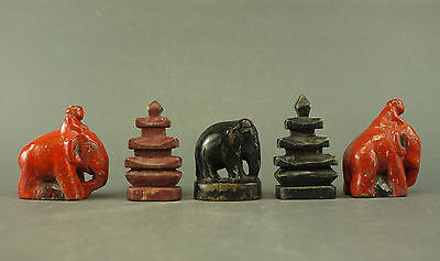 antique game pieces CHESS Schach Figur Burma Myanmar 19th c wood Elephant Pagoda