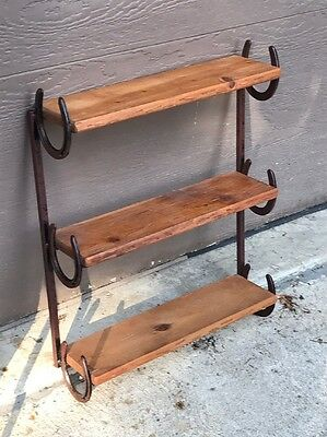 Home Interior Wood And Metal Horseshoe 3 Tier Wall Shelf