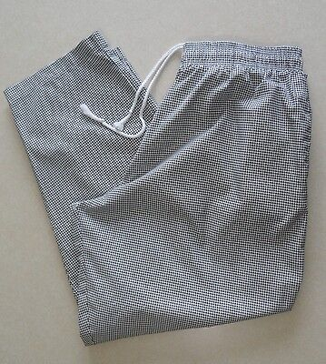 Chef Code Size 2XL Black White Houndstooth Pattern Elastic Waist Chef Pants