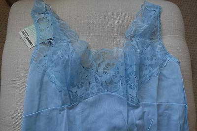 New Vintage Retro Ladies Full Under slip Petticoat Chemise Blue Lacy Size 10