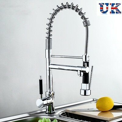 Copper Swivel Pull Out Mixer Tap Monobloc Chrome Brass Kitchen Spray Faucet UK