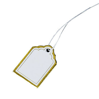 1000PCs Gold Edge and Silver Edge White Rectangular Blank Label Tie String V6A5