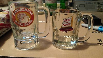 2 Root Beer Mugs Barrel head and Dogs