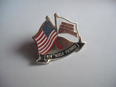 Death Before Dishonor New World Pictures Movie 1987 Promo Pin Button Usa Flag