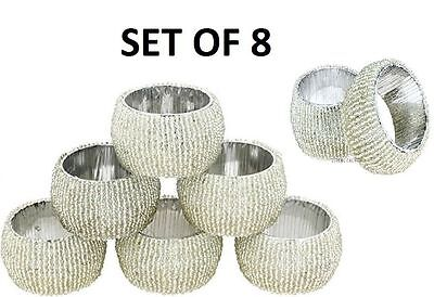 Napkin Rings Silver Beaded Glass Set Of 8 Wedding Birthday Dinner Party Xmas *