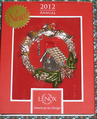 Lenox 2012 Annual Ornament Bless this Home Wreath birdhouse gift silver plate