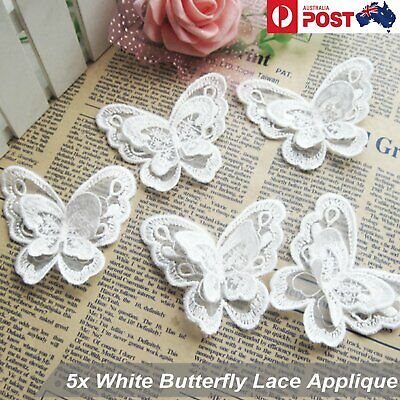 5pcs White Flower Lace Butterfly Applique Trims Embroidery Motif Craft Sewing AU