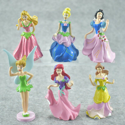 6pcs Disney Princess Cute Figure Toy Cake Toppers Display Doll Kids Gift