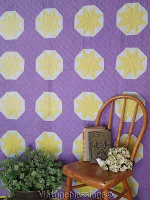 """Graphic Beautiful Yellow Star on Royal Purple VINTAGE 30-40s QUILT 80"""" x 79"""""""