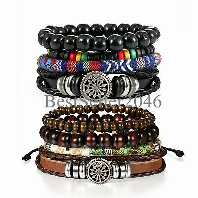 8pcs Brown Black Leather Tribal Beaded Cuff Wristband Bracelet for Men Women