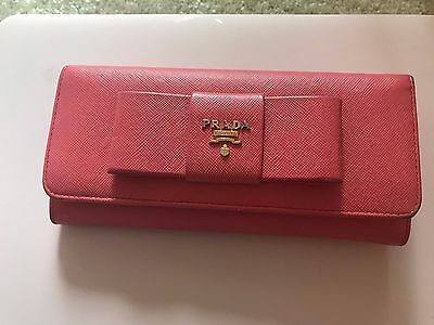 b791582bcd01 Prada Continental Saffiano Leather Wallet ‑ Fragola - with receipt and box
