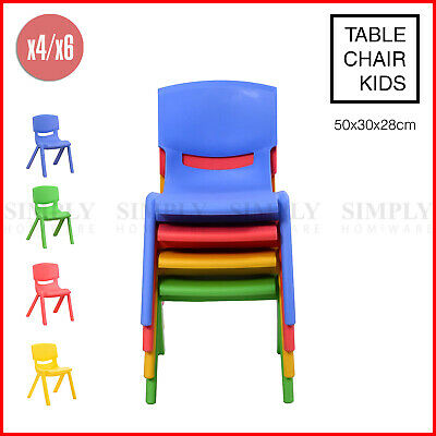 4x/6x Kids Chairs Children Toddler Plastic Desk Blue Red Green Yellow Table 100K