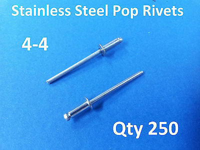 """250 POP RIVETS STAINLESS STEEL BLIND DOME 4-4 3.2mm x 9.5mm 1/8"""""""