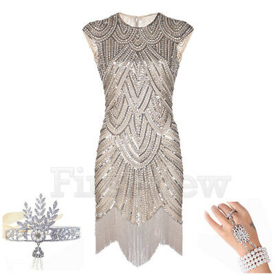 1920's Flapper Dress Vintage Great Gatsby Party Evening Costume Headband Sets