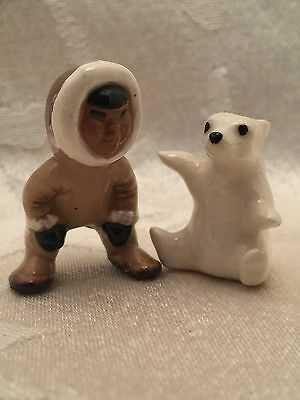 Vintage Hagen Renaker Eskimo & Polar Bear Figure Figurine Set Lot Of 2 Miniature