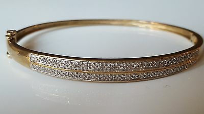 Diamond encrusted bangle bracelet in 9ct solid yellow gold