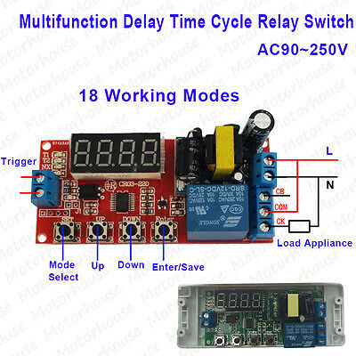 Digital AC 220V 230V Delay Time Cycle On/Off Timer Relay Trigger Switch Module