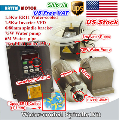 USA 1.5KW Water Cooled Spindle Motor ER11&VFD Drive&80mm Clamp&75W Pump&Pipe CNC
