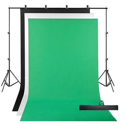 3 Backdrop + Stand Black White Green Photography Screen Muslin Background Kit