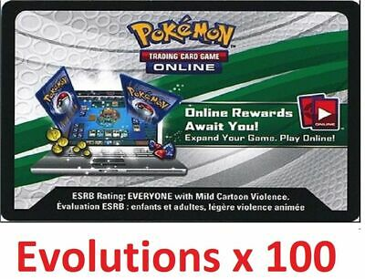 100 x Pokemon XY EVOLUTIONS TCG Online Codes (emailed within 12 hours) code tcgo