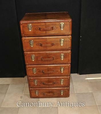 English Leather Campaign Chest Drawers Tall Boy Colonial Furniture