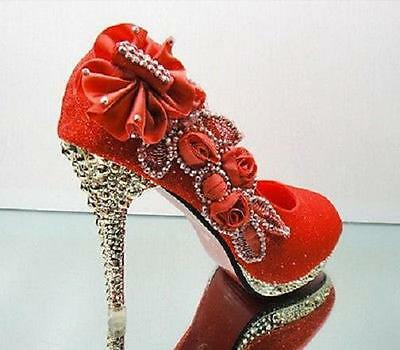 New Red beautiful Vogue lace Flowers Crystal High Heels Wedding Bridal Shoes ##