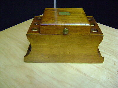 Wooden Pipe Hold / Rest Humidor Tobacco Box Hold 6 Pipes w/ engrave plat
