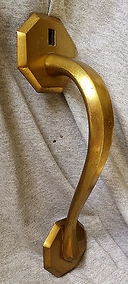 "9.5"" Vintage Antique NOS Art Deco Solid Cast Brass Metal Door Pull Handle Plate"