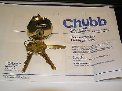 High Security CHUBB 4L/C Rim Cylinder Lock and 3 Keys made in England Lock sport