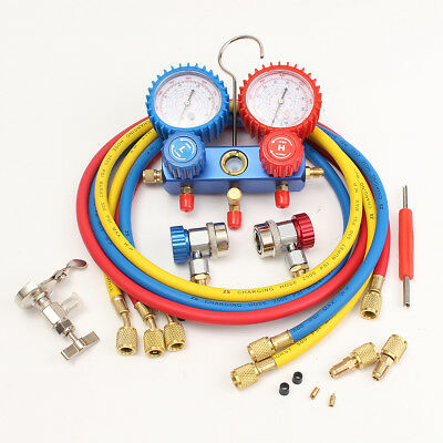 Manifold Gauge R22 R12 R134A HVAC A/C W/3 Charge Hoses Quick Adapter & 2 ACME