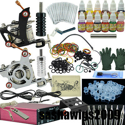 NEW 2 Machine Tattoo Kit Motor Guns Equipment 12 Ink Set Tattoo _TA003