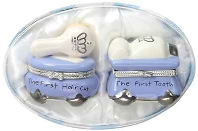 First Tooth and Curl Treasure Box Set Mud Pie Baby Prince Ceramic Hinged Boxes