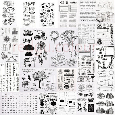 Transparent Silicone Clear Rubber Stamp Cling Diary Scrapbooking DIY Craft Hot