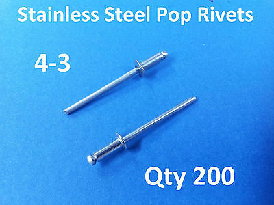 """200 POP RIVETS STAINLESS STEEL BLIND DOME 4-3 3.2mm x 8mm 1/8"""""""
