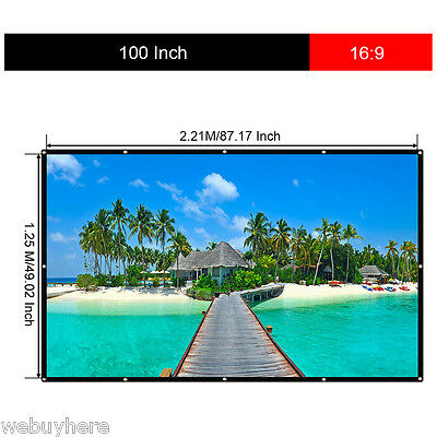 100 inch 16:9 Collapsible White Portable Projector Cloth Screen w/ Hanging Hole