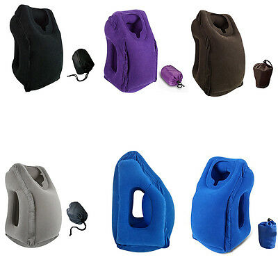 NEW Inflatable Air Cushion Travel Pillow Head Neck Sleep Support Camping Flight