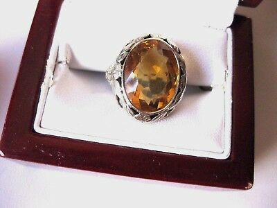 ANTIQUE 18K WHITE GOLD FILIGREE RING with NATURAL HUGE CITRINE,ART DECO,1920's